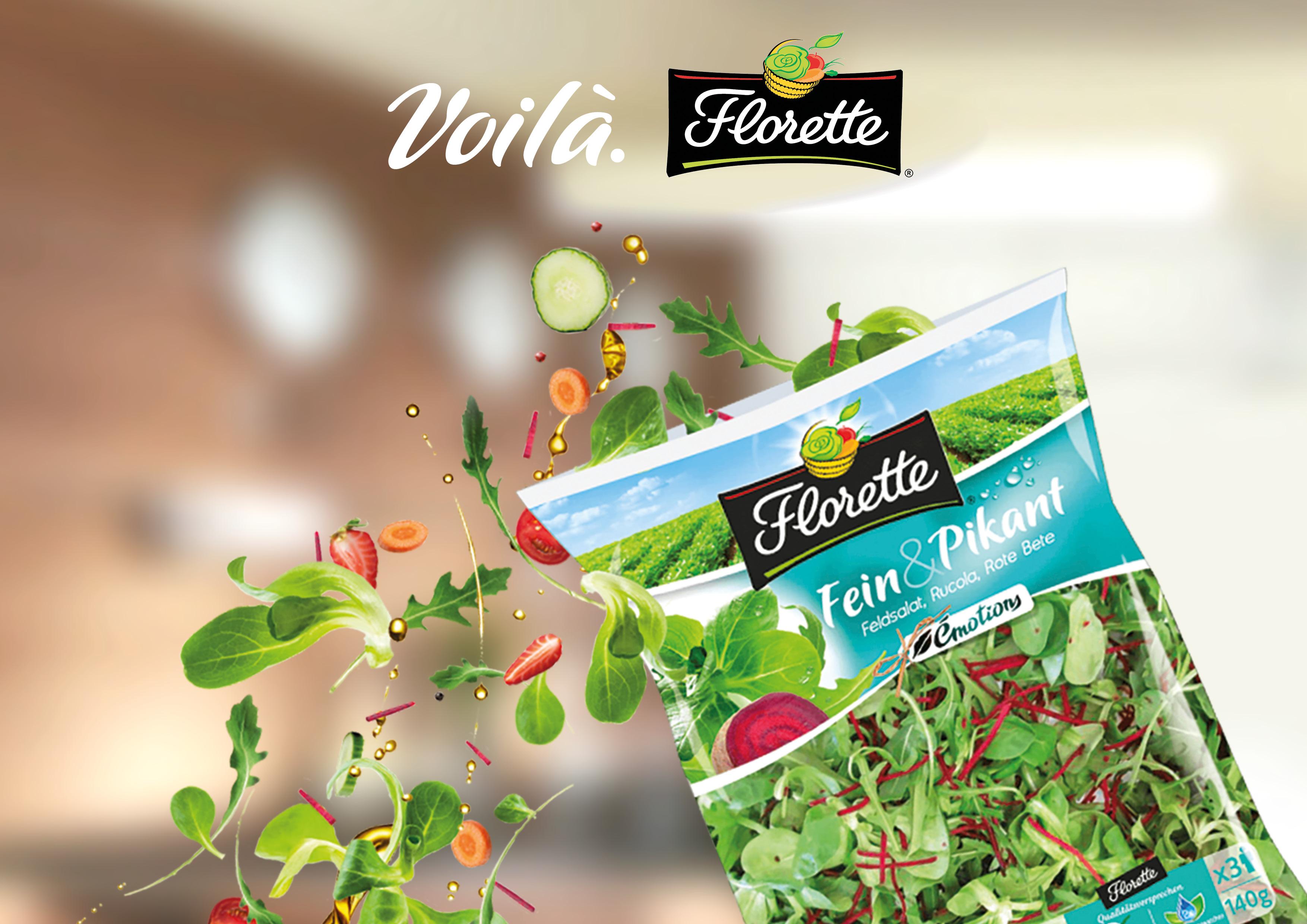 Salatmischung Fein & Pikant von Florette, dynamisch in Szene gesetzt zur neuen Voilà-Kampagne