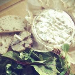 Foto - Camembert mit gebackenem Knoblauch, Feldsalat und Mangold -