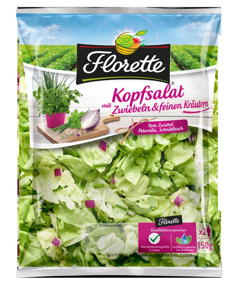 Florette Kopfsalat mit Zwiebeln und feinen Kräutern