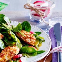 Foto - Blattsalat mit Frischkäsenockerl, Radieschen und Lauchzwiebeln -