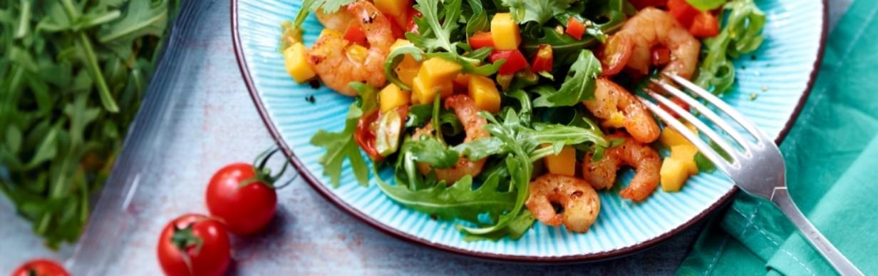 Rucola-Garnelen-Salat mit Mango