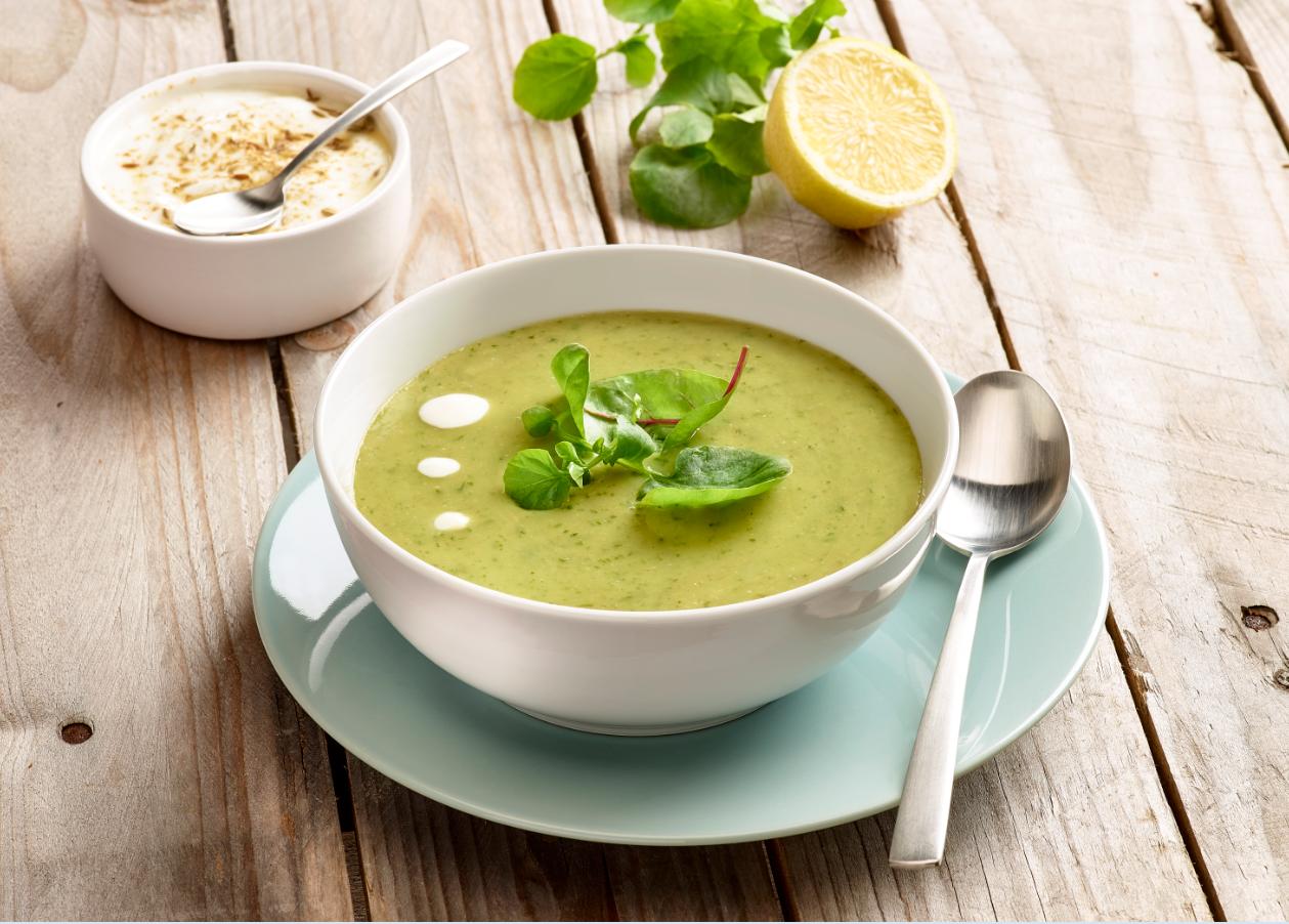 Grüne Suppe mit Gartenkresse-Salat