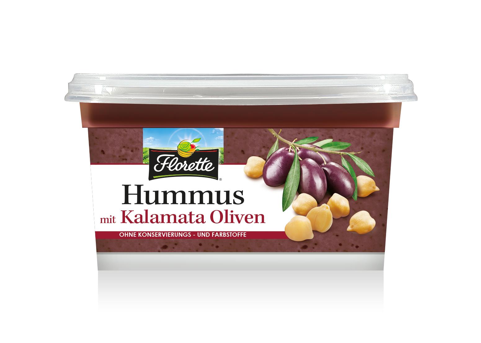 Hummus mit Kalamata Oliven 3D HD