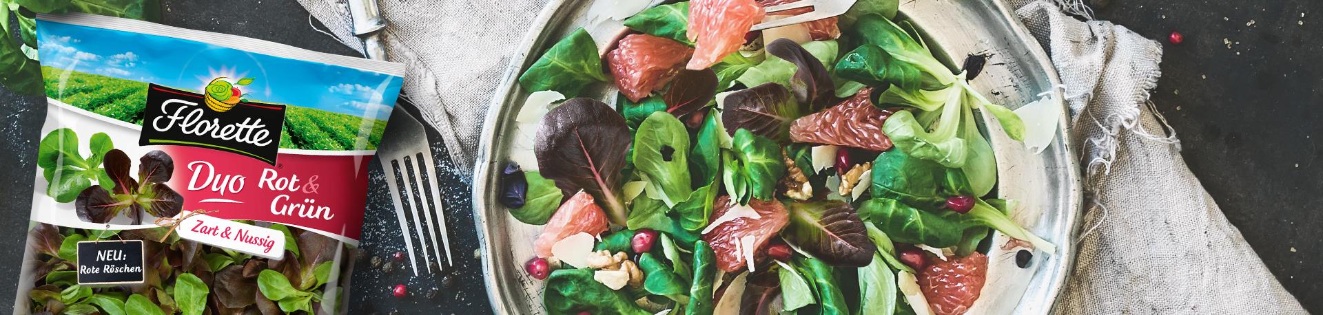 Ansicht von Florette Duo Rot & Grün als Packung und angerichtet als Salat.