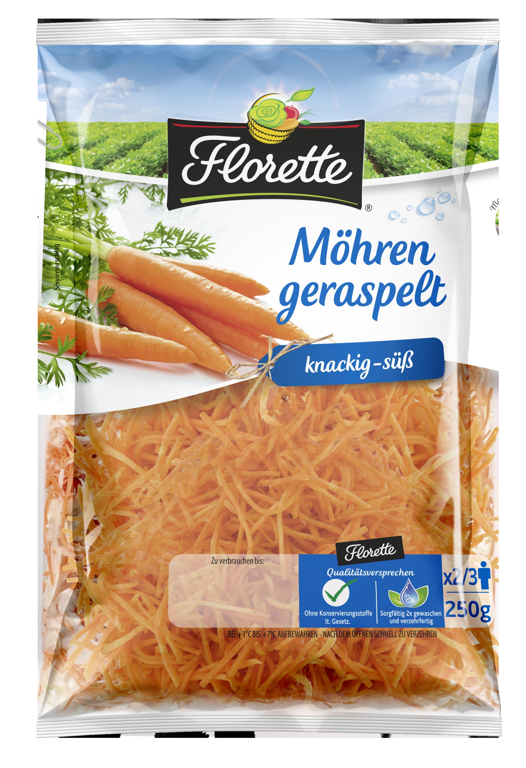 Produktfoto: Geraspelte Möhren von Florette