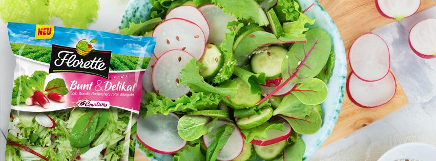 Bunt & Delikat Salat mit Gurken und Himbeerdressing