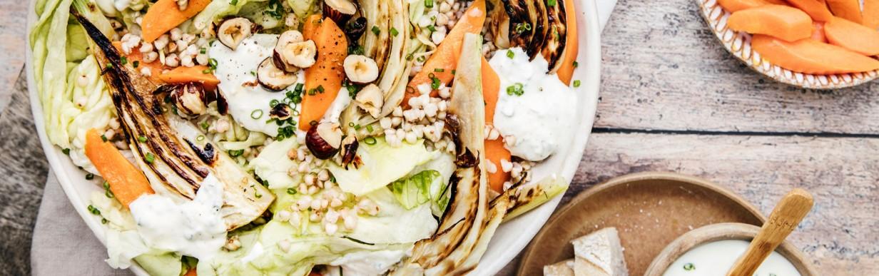 Florette Agrilogic Kopfsalat mit gerösteten Möhren, gegrilltem Fenchel und Buchweizen