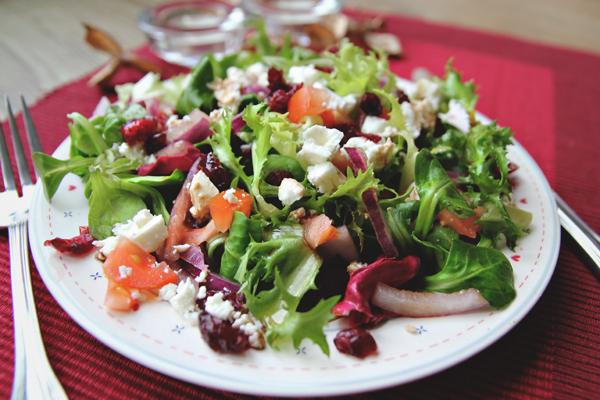 Gourmet Salat mit Fetakäse, Tomaten, rote Zwiebeln und Preiselbeeren