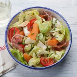 Foto - Salat Melone und Parmaschinken -
