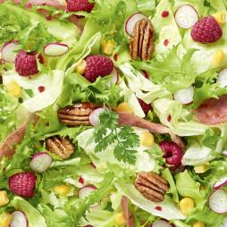 Foto - Sommersalat mit Himbeeren, Bacon und Pekannüssen -