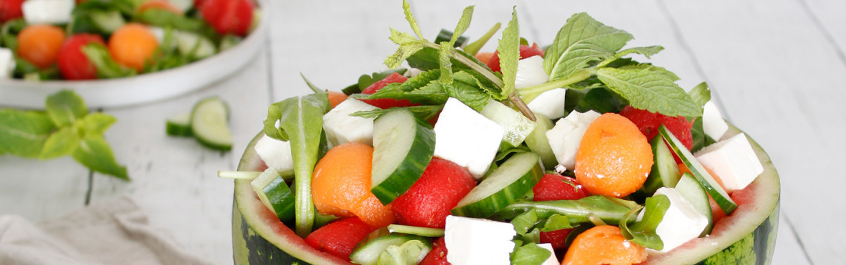 Wassermelonensalat mit Feta, Gurke und Minze