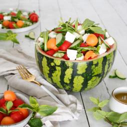 Foto - Wassermelonensalat mit Feta, Gurke und Minze -